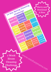 pink background with multicolored printable of the 14 day spring cleaning challenge. Burst that says hurry and download it now and burst that says 2 week house cleaning challenge.