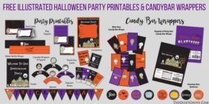 Grab these free printable items for your halloween party, Free Halloween Printables- grab them here from this awesome post by The Quiet Grove