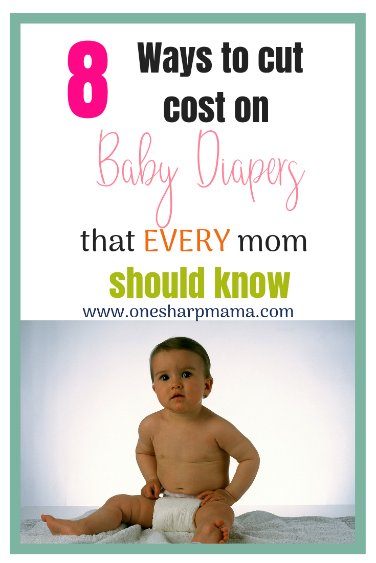 Baby sitting in diaper with text overlay that says money saving tips on diapers that every mom should know.