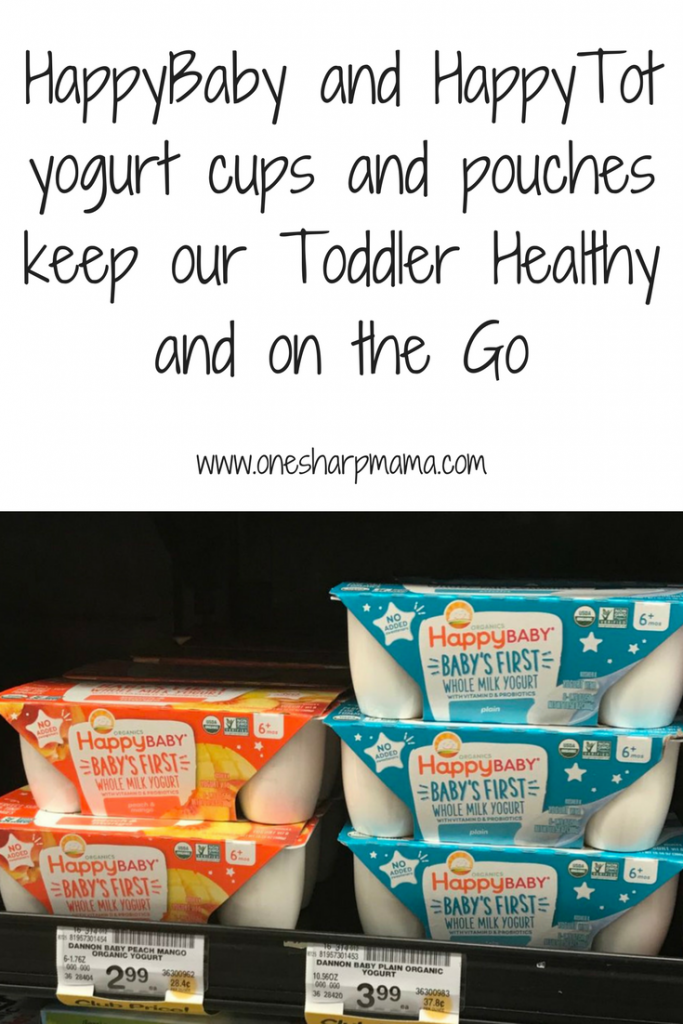 How HappyTot and HappyBaby keep our toddler happy and on the go. These yogurt pouches are our go to snack. #toddlersnack
