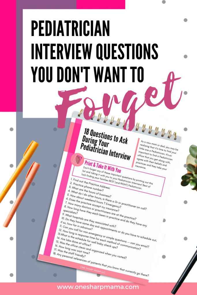 pediatrician interview questions printable