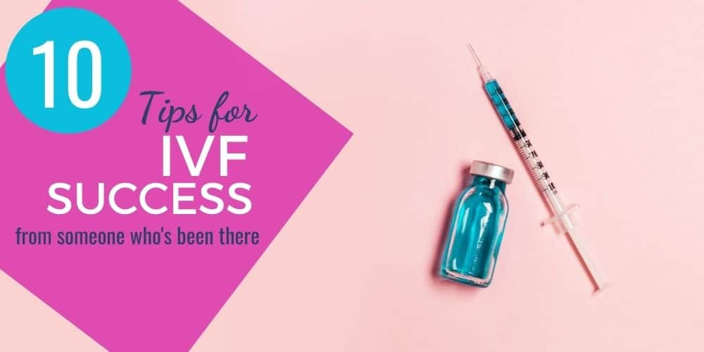 syringe and vial on pink background with IVF success text overlay
