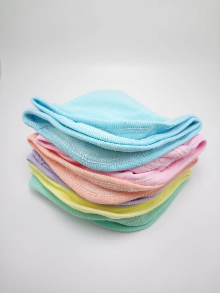 baby cloth wipes in a pile.
