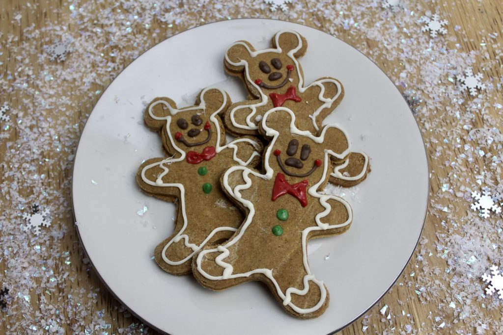 mickey mouse gingerbread cookies on a plate