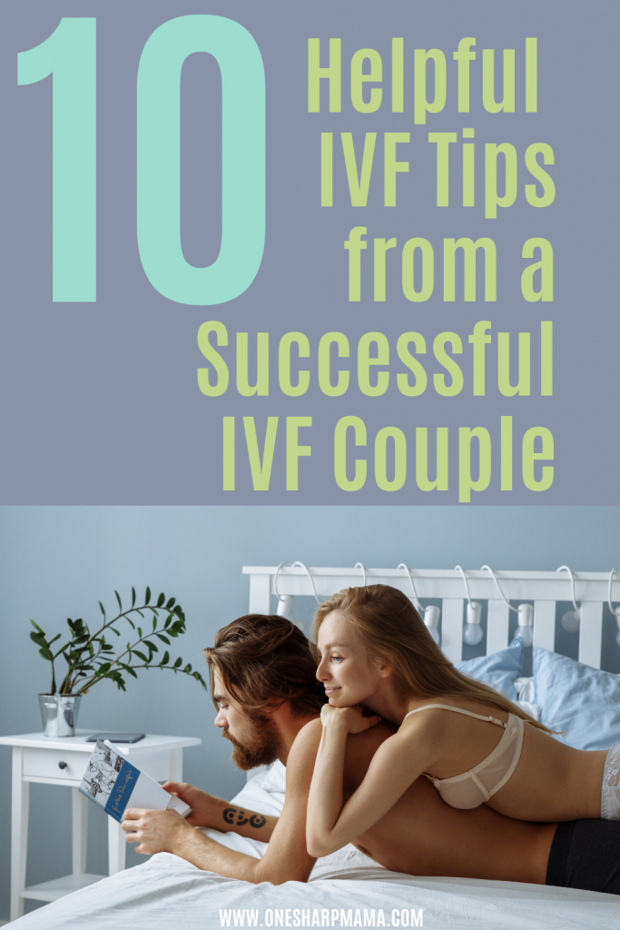 couple laying in bed with text overlay that says 10 helpful IVF tips from a successful ivf couple