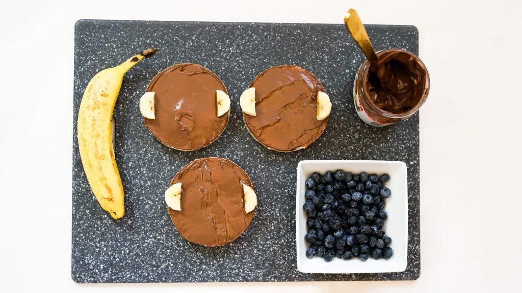 Monkey Nutella Rice Cakes with Bananas