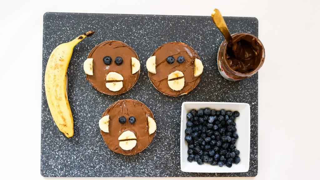 Monkey Nutella Rice Cakes with Blueberry Eyes