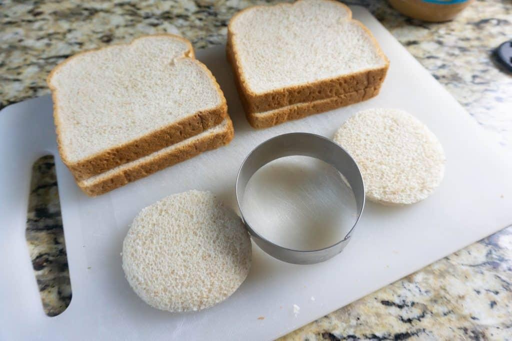 bread cut using a biscuit cutter.