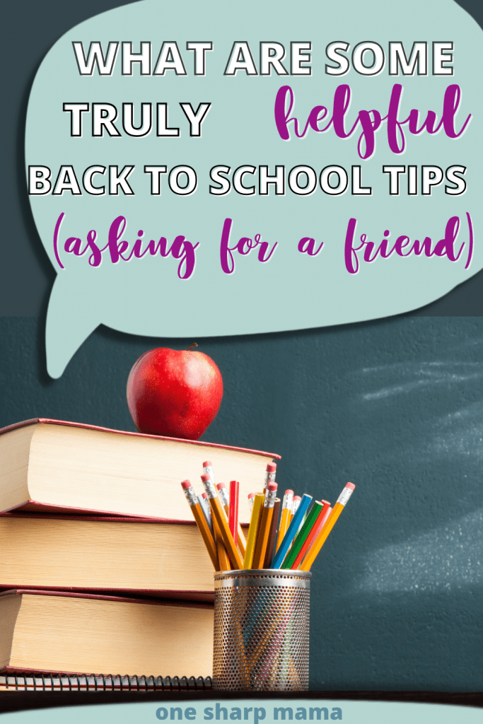 Back to school tips on a chalkboard background.
