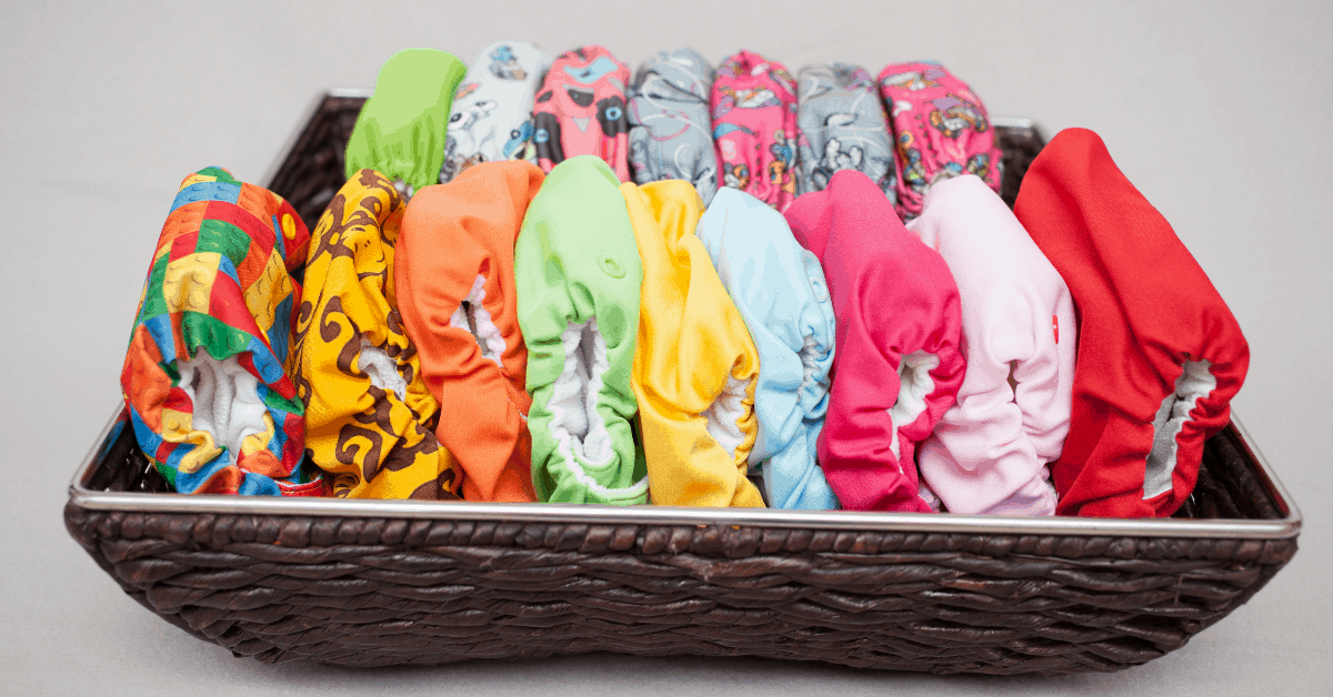 A basket of cloth diapers.