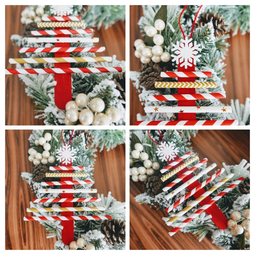 collage of Christmas Tree Straw Crafts