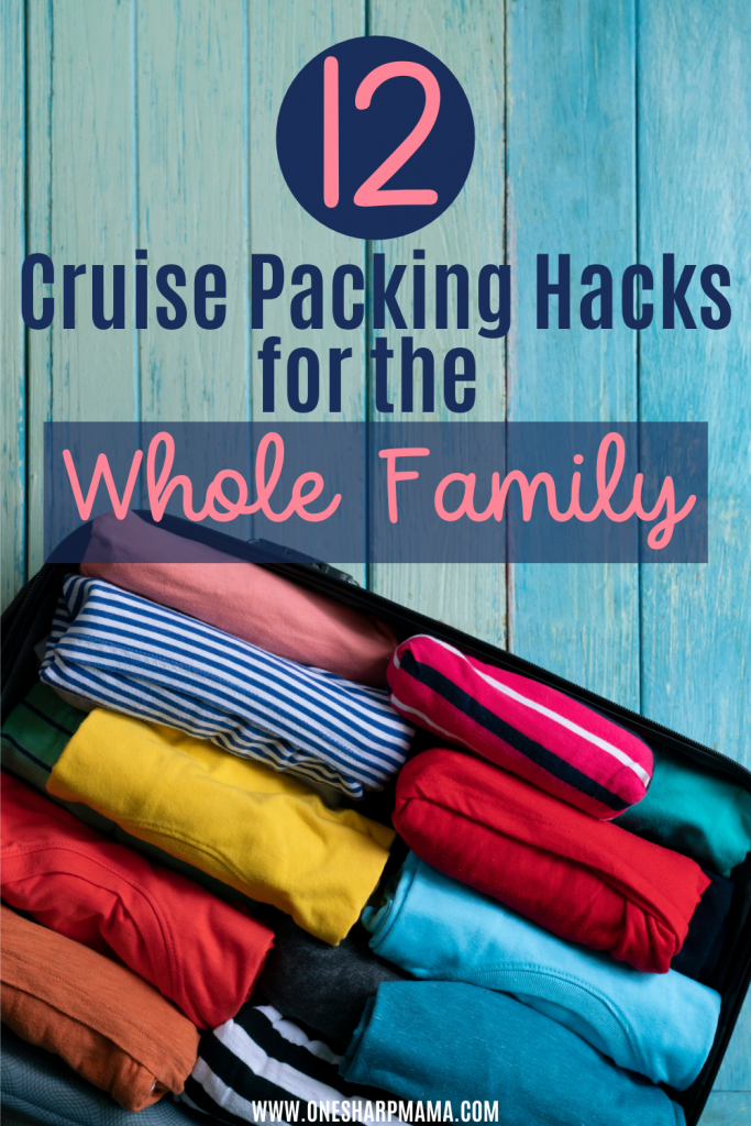 packing luggage with clothing rolled up in it with blue and pink text that says cruise packing hacks for the whole family