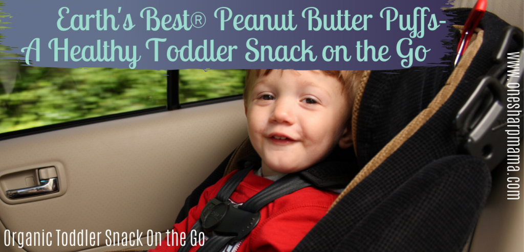 child in a car seat in a car with text that says earth's best ® peanut butter puffs a healthy toddler snack on the go