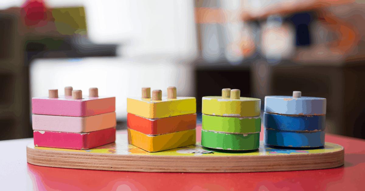 A wooden peg set toy.