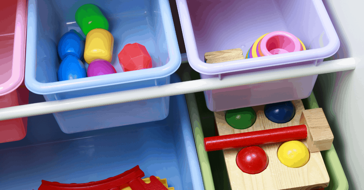 A storage solution to hold kids toys.